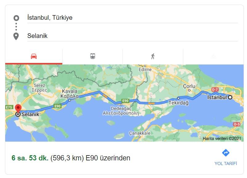 İstanbul Selanik Arası Mesafe Kaç Kilometre